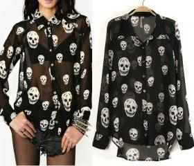 Punk skeleton print chiffon blouse garment