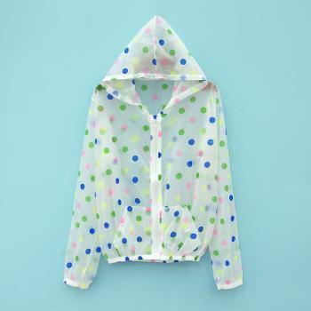 Multicolour polka dot transparent rain coat