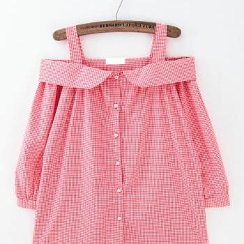 Sweet plaid sexy slit neckline strap shirt slit neckline tops