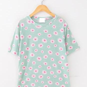 Sunflower aqua T-shirt candy color T-shirt