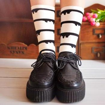 Amo zipper milk drop women socks ice cream drop cotton socks